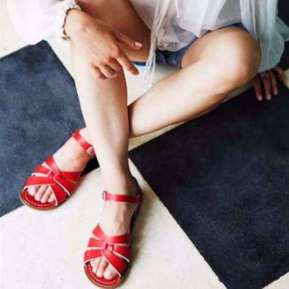 Salt Water Sandals Red Leather Sz